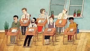 teachers in desks